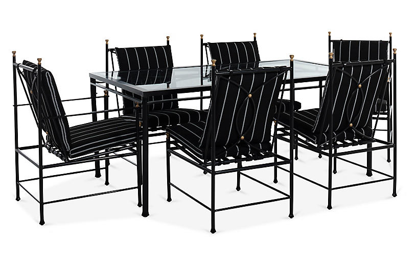 Frances 7-Pc Dining Set, Black/White Stripe