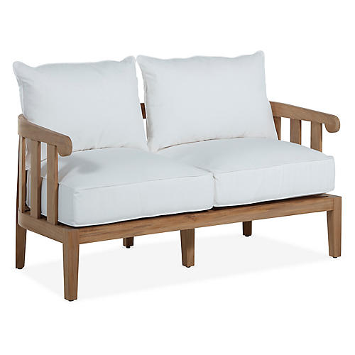 Highland Teak Loveseat, White