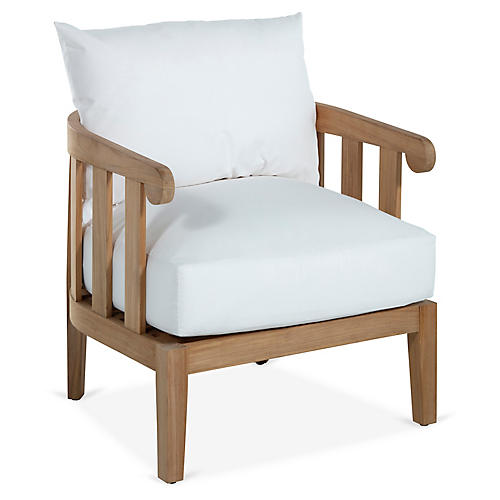 Highland Teak Lounge Chair, White