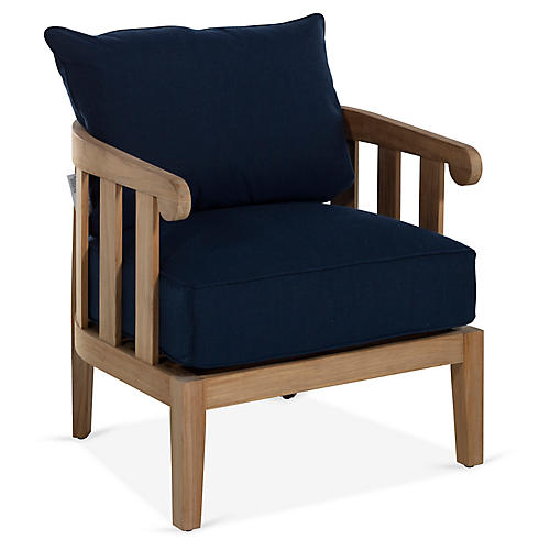 Highland Teak Lounge Chair, Navy
