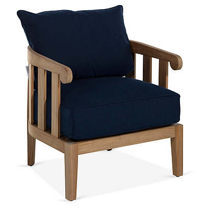 Highland Teak Lounge Chair, Navy