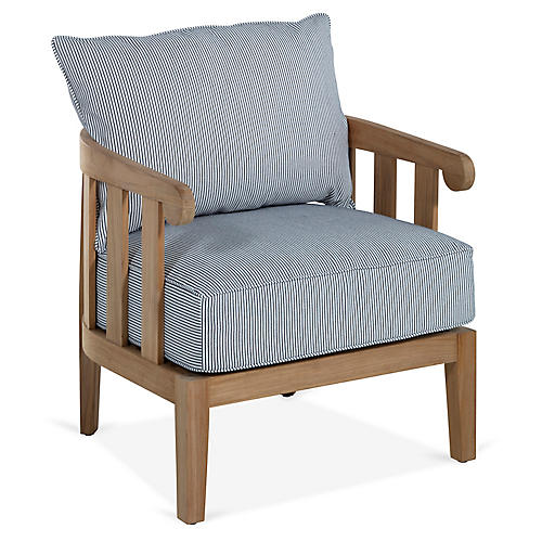 Highland Teak Lounge Chair, Navy Pinstripe