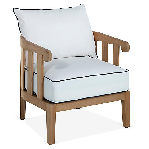 Highland Teak Lounge Chair, White/Navy