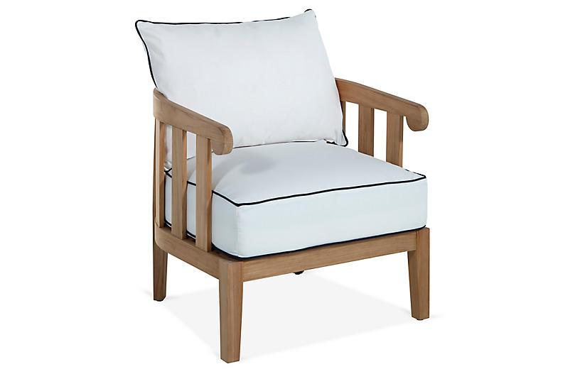 Highland Teak Lounge Chair, White/Navy