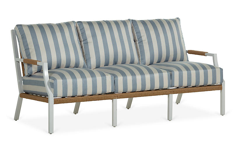 Harper Sofa, Chambray Stripe