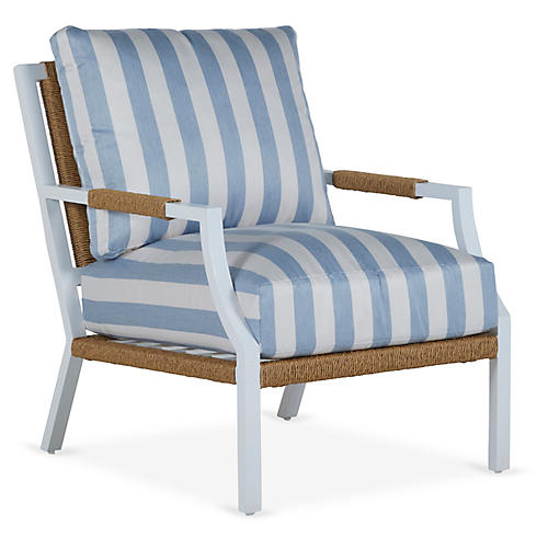 Harper Lounge Chair, Chambray Stripe