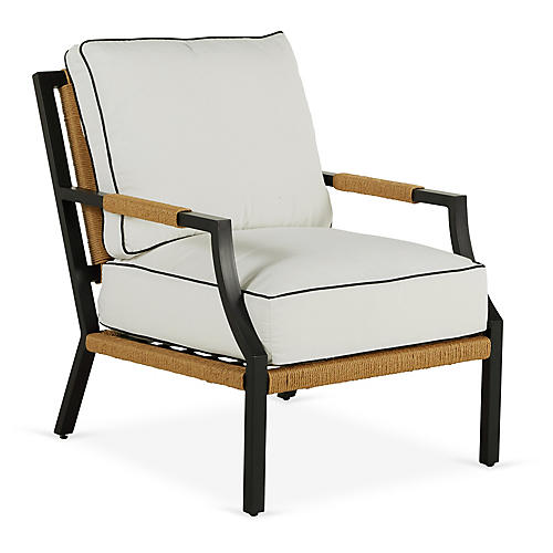 Harper Lounge Chair, White/Black Welt