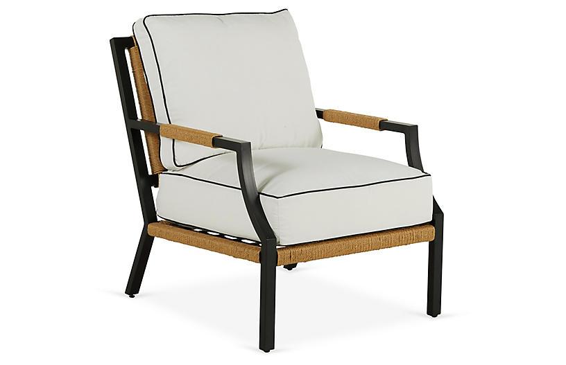 Harper Rush Lounge Chair, White/Black Welt