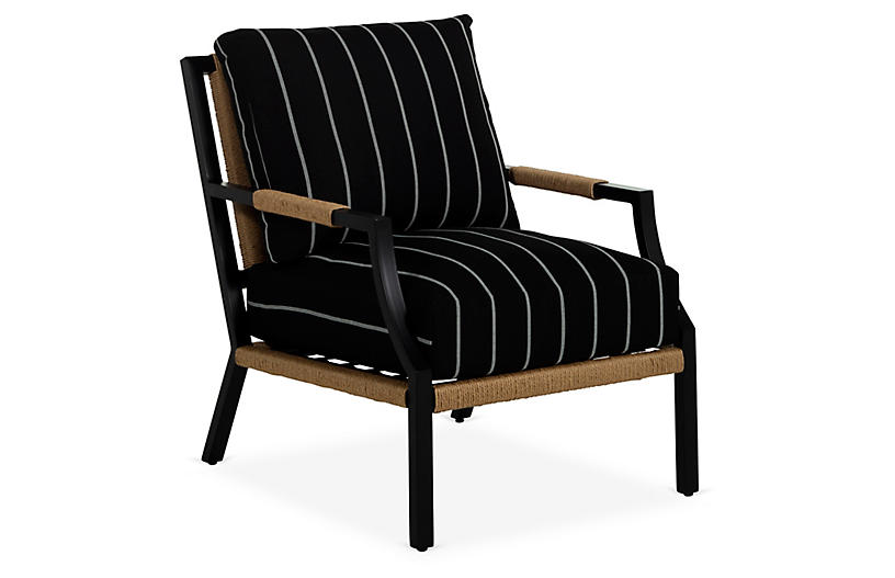 Harper Lounge Chair, Black/White Stripe