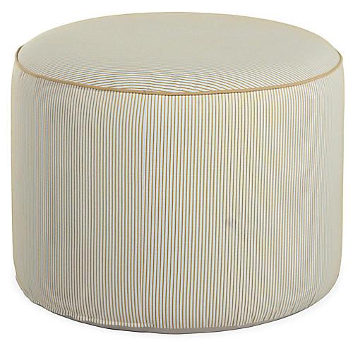 Kit Round Pouf, White/Yellow Pinstripe