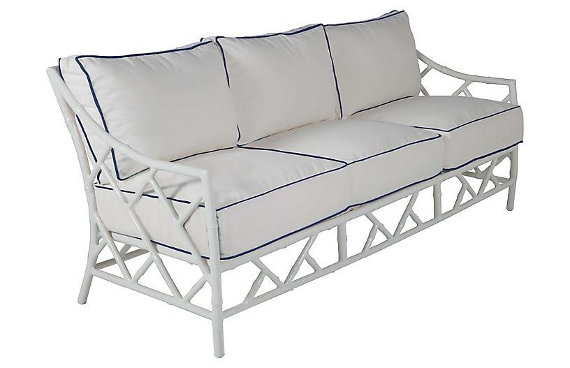 Kit Sofa, White/Navy Sunbrella