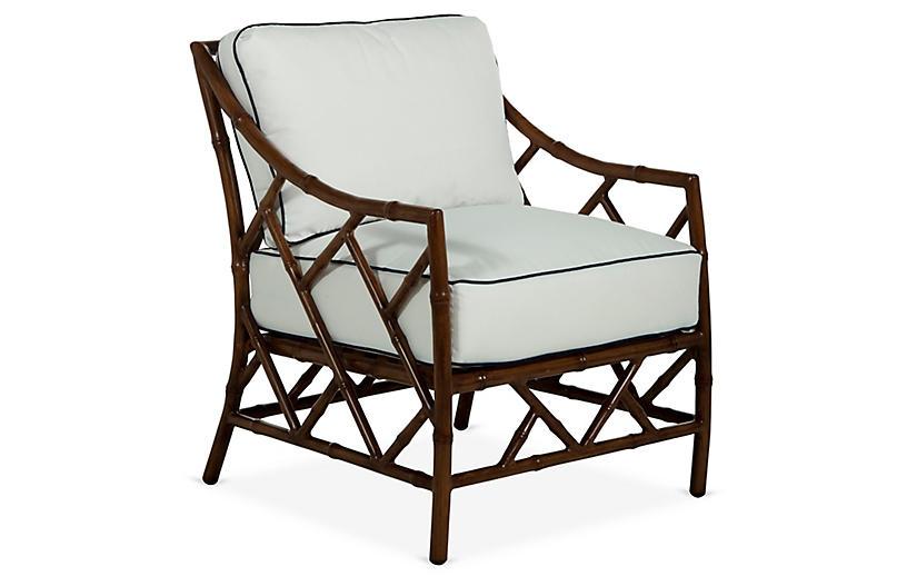 Kit Lounge Chair, Sandalwood/White/Navy