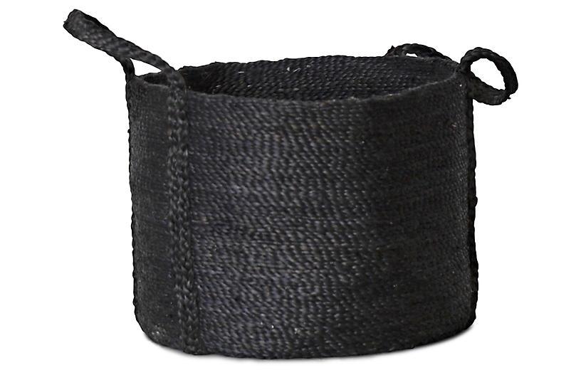 Jute Round Basket, Charcoal