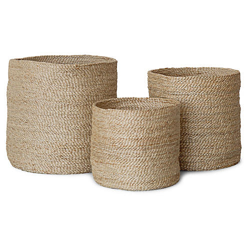 S/3 Jute Round Baskets, Natural