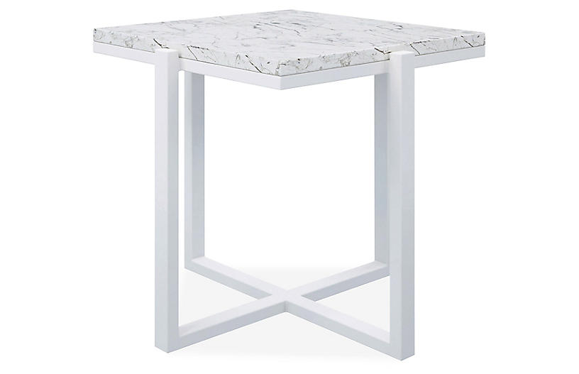Marble Side Table, Frost