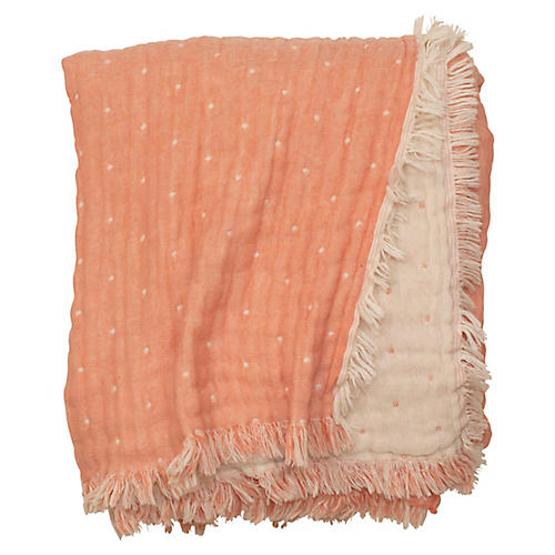 Cozi Throw, Coral/Natural
