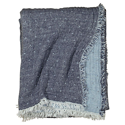 Cozi Throw, Navy/Light Blue