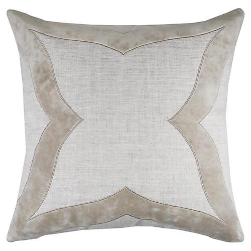 Elle 22x22 Pillow, Oatmeal Velvet