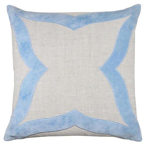 Elle 22x22 Pillow, Winter Sky Velvet