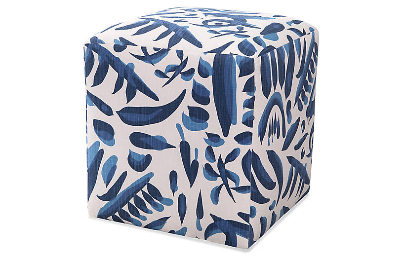 Lino Ottomans, Blue/White