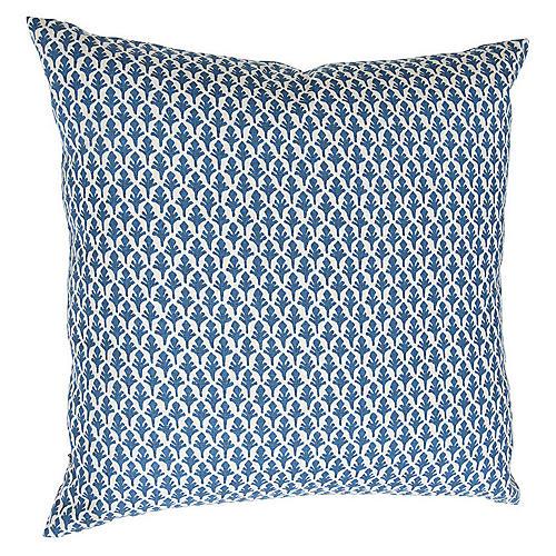 Ponce 26x26 Euro Pillow, Blue/White