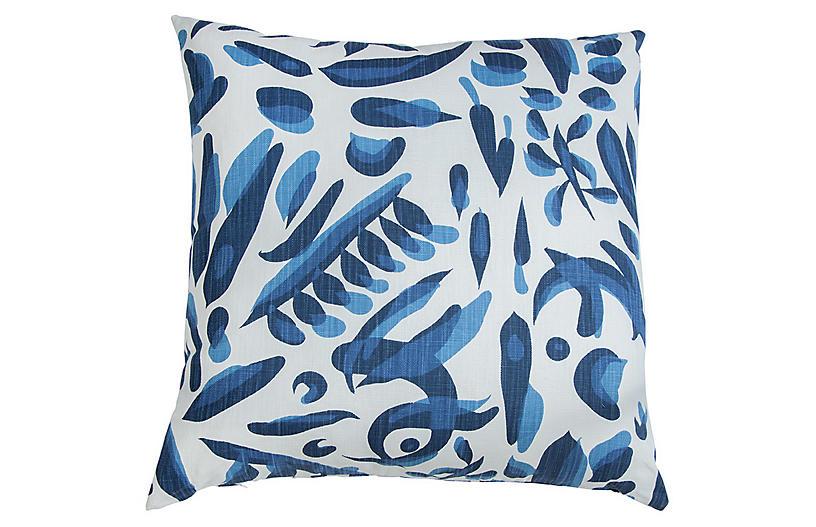 Lino Throw Pillow, Blue/White
