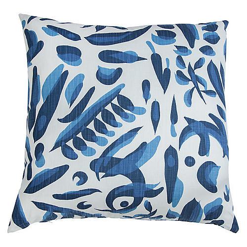 Lino 26x26 Euro Pillow, Blue/White