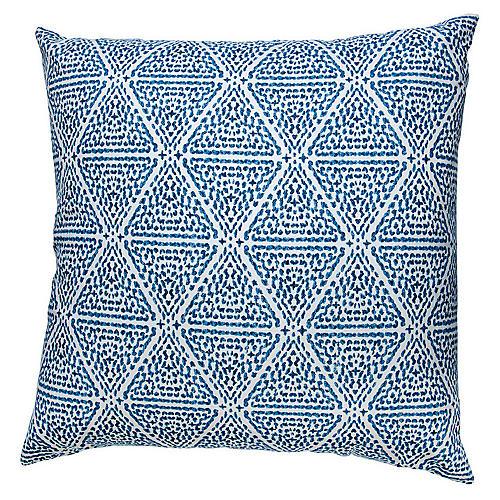 Miguel 26x26 Euro Pillow, Blue/White