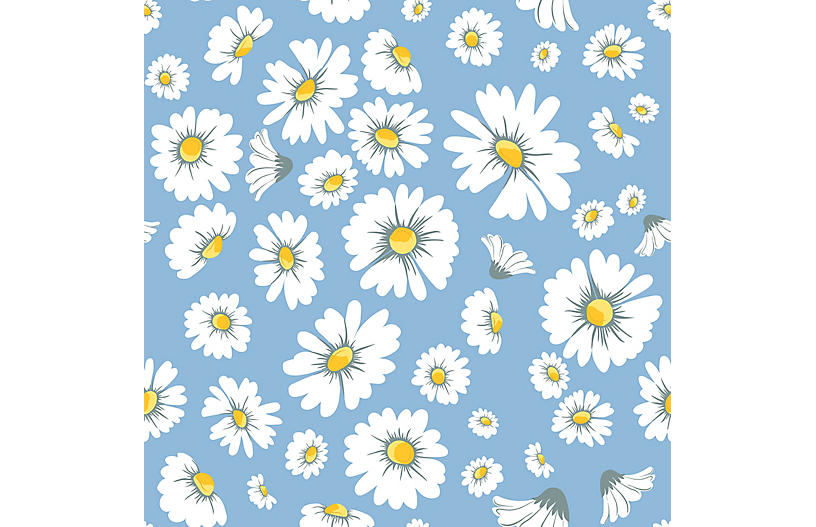 Daisy Bloom Wallpaper, Cornflower
