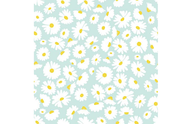 Pop Daisy Wallpaper, Seafoam