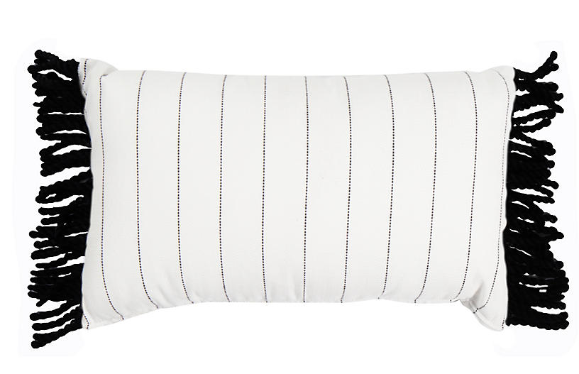 Frances 24x14 Lumbar Pillow, White Stripe