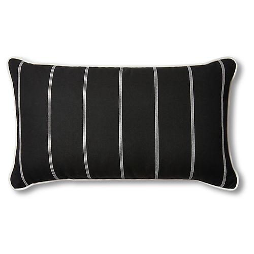 Frances 14x24 Outdoor Lumbar Pillow, Black/White