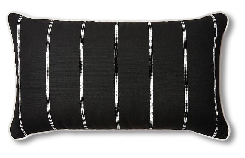 Frances 24x14 Lumbar Pillow, Black/White