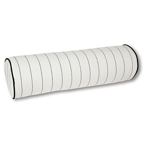 Frances 8x25 Outdoor Bolster Pillow, White/Black