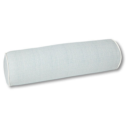 Harper 8x25 Outdoor Bolster Pillow, Chambray/White