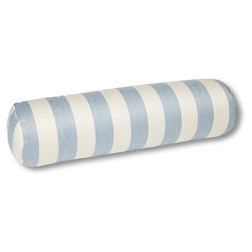 Harper 8x25 Outdoor Bolster Pillow, Chambray/Ivory Stripe