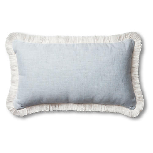 Carmel 14x24 Outdoor Fringe Lumbar Pillow, Chambray/White