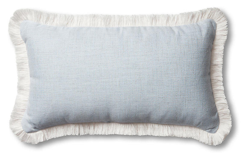 Carmel 24x14 Lumbar Pillow, Chambray/White