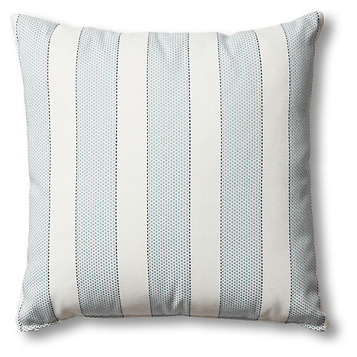 Carmel Outdoor Pillow, Blue/White Stripe
