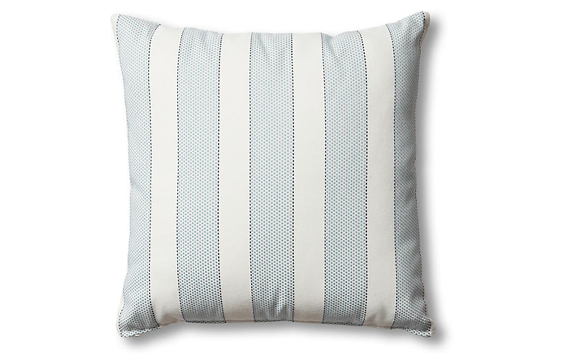 Carmel Outdoor Pillow, Blue/White Stripe