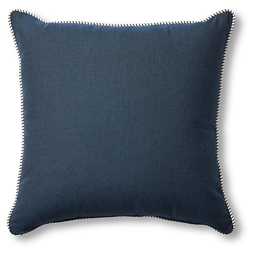 Highland Outdoor Pillow, Navy/White