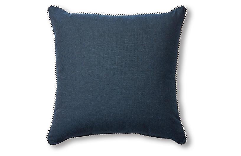 Highland Pillow, Navy/White