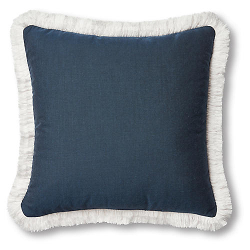 Highland Outdoor Fringe Pillow, Navy/White