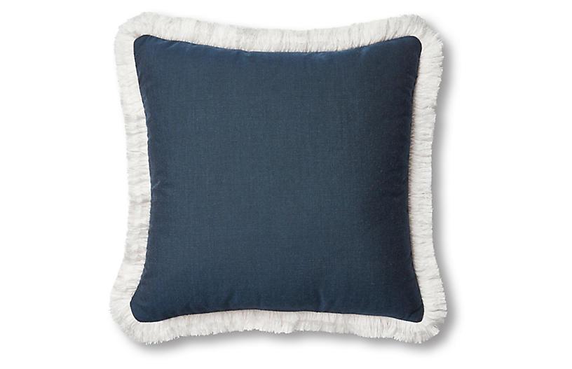 Highland Fringe Pillow, Navy/White