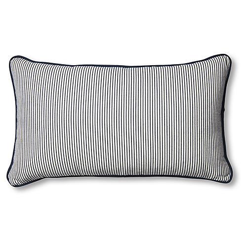 Highland 14x24 Outdoor Lumbar Pillow, Navy/White Stripe