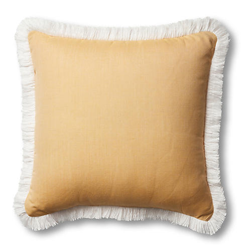 Kit Fringe Pillow, Mustard/White