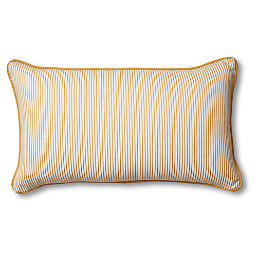 Kit 14x24 Lumbar Pillow, Mustard/White Stripe