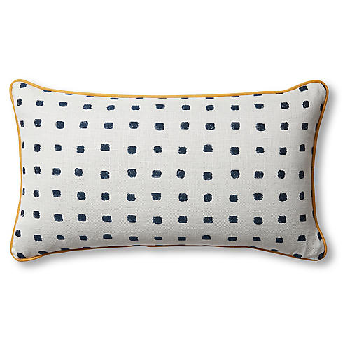 Kit 14x24 Lumbar Pillow, Navy Dot/Multi