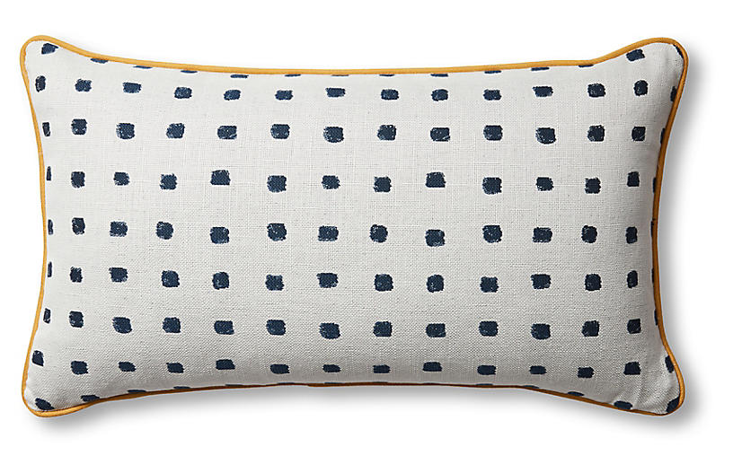 Kit Lumbar Pillow, Cobalt/White/Mustard