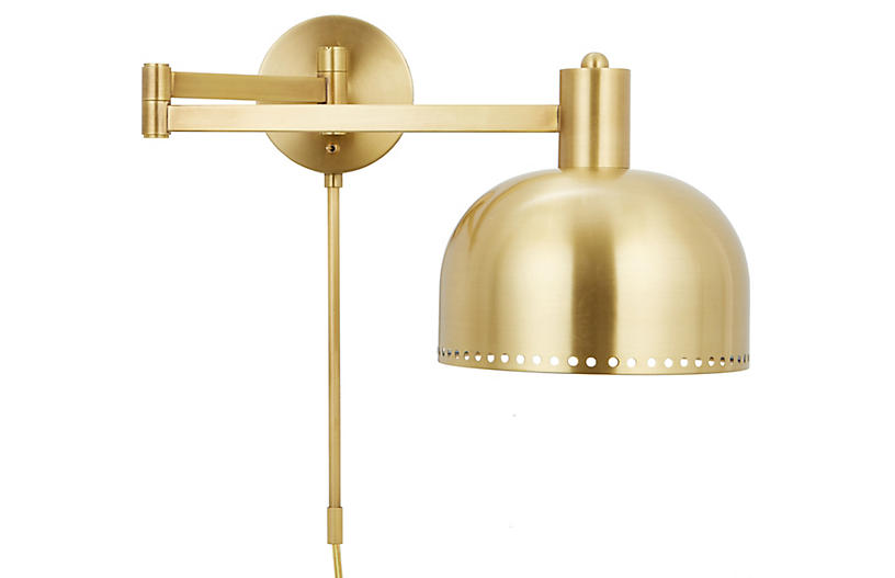 Theo Dome Sconce, Polished Brass